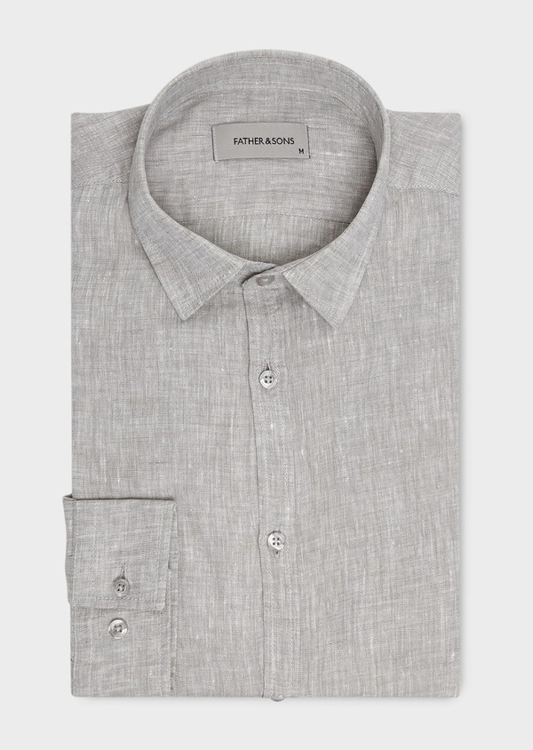 Chemise sport Slim en lin uni gris - Father and Sons 20425