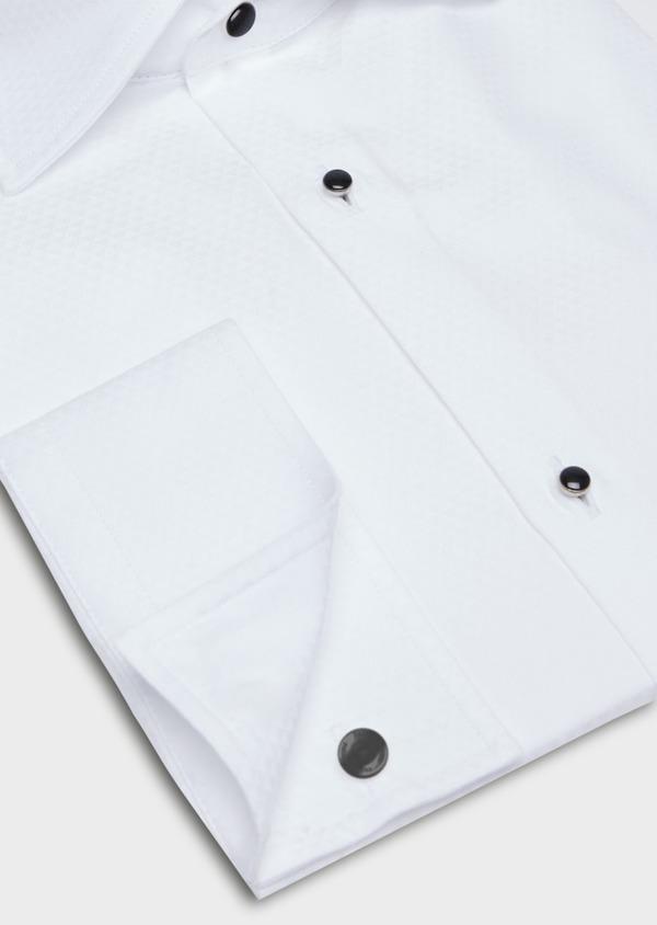 Chemise habillée Slim en coton façonné blanc à motifs géométriques ton sur ton - Father and Sons 37101