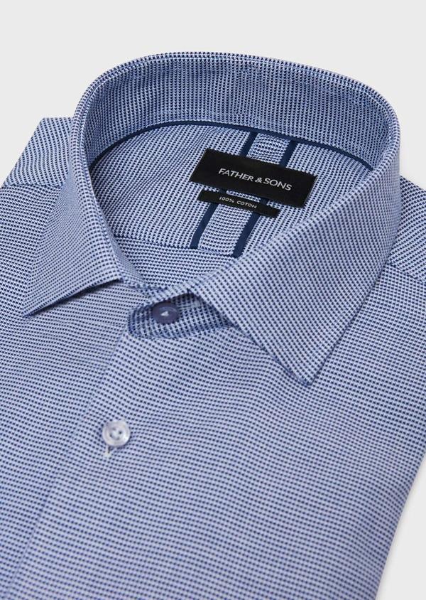 Chemise habillée Slim en coton à motif fantaisie bleu - Father and Sons 31808