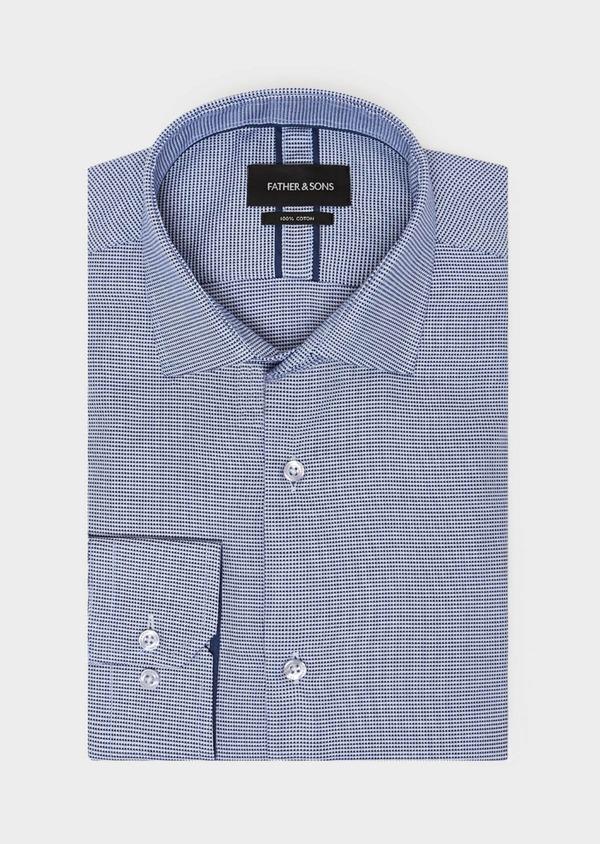 Chemise habillée Slim en coton à motif fantaisie bleu - Father and Sons 31809
