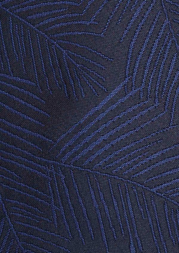 Cravate fine en soie bleu foncé à motif fantaisie ton-sur-ton - Father and Sons 20483