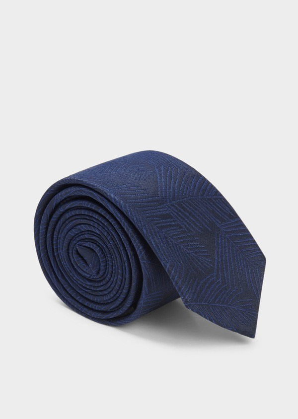 Cravate fine en soie bleu foncé à motif fantaisie ton-sur-ton - Father and Sons 20482