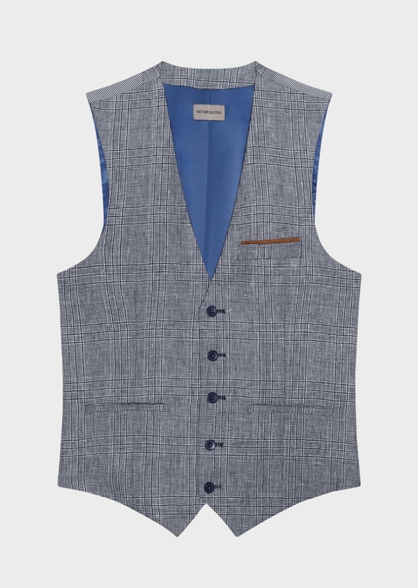 Gilet casual en lin bleu Prince de Galles - Father and Sons 34327