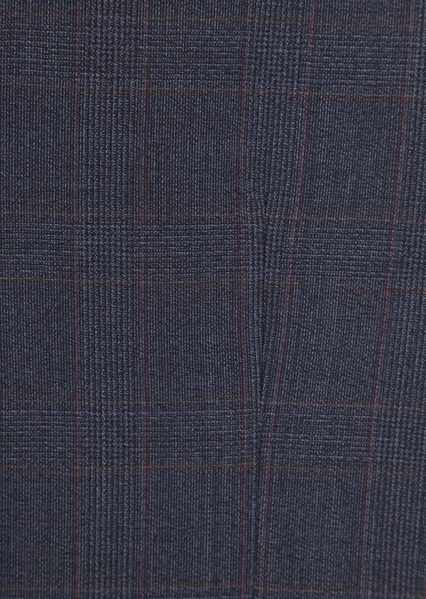 Gilet de costume en laine stretch naturelle bleu chambray Prince de Galles - Father and Sons 37339