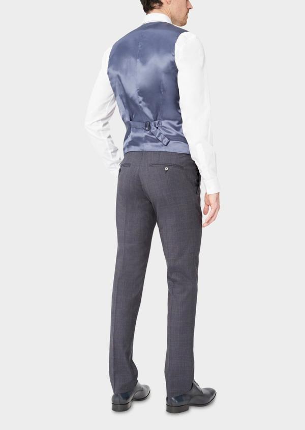 Gilet de costume en laine stretch naturelle bleu chambray Prince de Galles - Father and Sons 37338