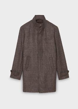 Manteau en laine à motif fantaisie marron foncé 1 - Father And Sons