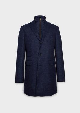 Manteau en laine à motif fantaisie bleu indigo 1 - Father And Sons