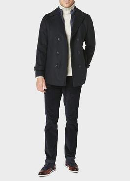 Manteau en laine uni bleu jeans 2 - Father And Sons