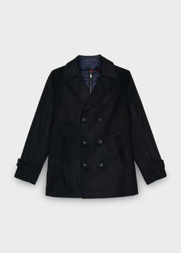 Manteau en laine uni bleu jeans 1 - Father And Sons