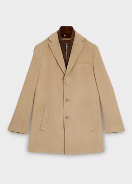 Manteau en laine mélangée unie camel 1 - Father And Sons