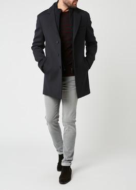 Manteau en laine mélangée unie bleu indigo 2 - Father And Sons