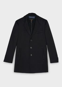 Manteau en laine mélangée unie bleu indigo 1 - Father And Sons
