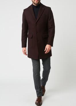 Manteau en laine mélangée unie rouge foncé 2 - Father And Sons