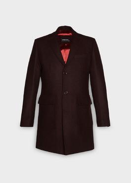 Manteau en laine mélangée unie rouge foncé 1 - Father And Sons
