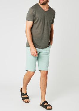 Bermuda en coton stretch uni vert clair 2 - Father And Sons