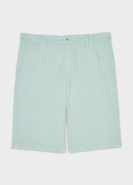 Bermuda en coton stretch uni vert clair 1 - Father And Sons