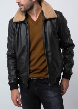 Blouson Flight Jacket en cuir uni noir 2 - Father And Sons