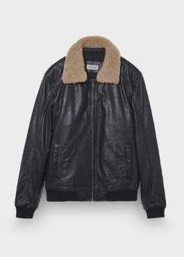 Blouson Flight Jacket en cuir uni noir 1 - Father And Sons