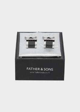 Boutons de manchettes fantaisie carrés noirs 2 - Father And Sons