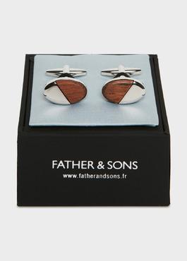 Boutons de manchettes fantaisie ovales bois et argent 2 - Father And Sons