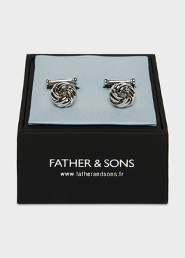 Boutons de manchettes fantaisie noeuds argent 2 - Father And Sons