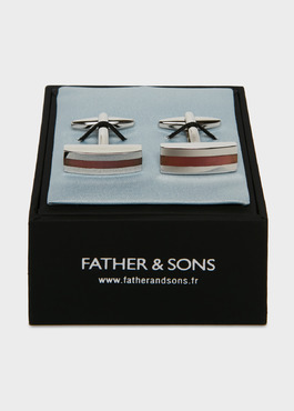 Boutons de manchettes rectangulaires insert rose 2 - Father And Sons