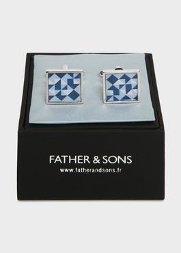 Boutons de manchettes fantaisie carrés bleus 2 - Father And Sons