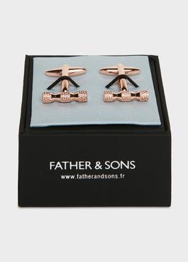 Boutons de manchettes bâtons en reliefs cuivre 2 - Father And Sons