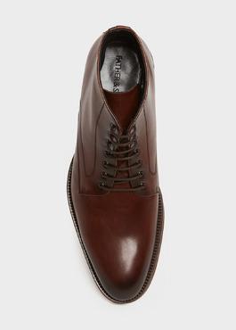 Boots à lacets en cuir lisse marron 2 - Father And Sons