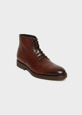 Boots à lacets en cuir lisse marron 1 - Father And Sons