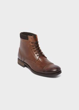 Boots à lacet en cuir marron 1 - Father And Sons