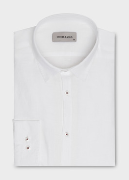 Chemise sport Slim en lin blanc 1 - Father And Sons