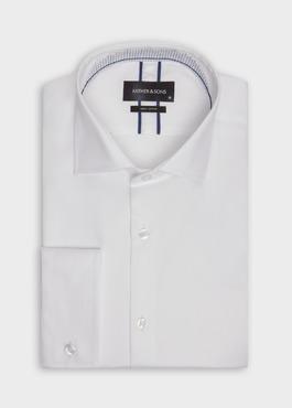 Chemise habillée Slim en satin de coton uni blanc 1 - Father And Sons