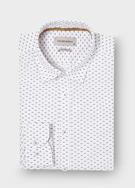 Chemise sport Regular en popeline de coton blanc à motif fantaisie 1 - Father And Sons