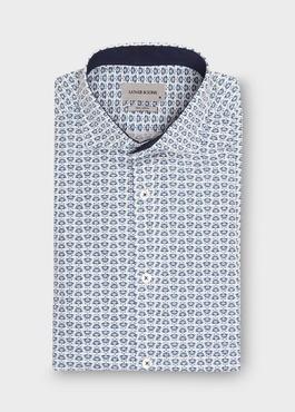 Chemise sport Regular en popeline de coton blanc à motif fantaisie bleu 1 - Father And Sons