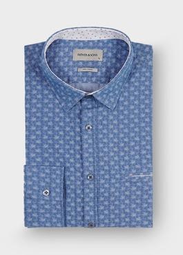 Chemise sport Regular en coton Jacquard bleu à motif fantaisie blanc 1 - Father And Sons