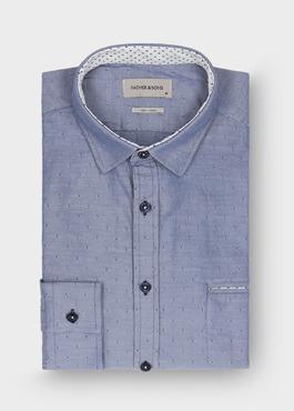 Chemise sport Regular en twill de coton bleu à pois bleu foncé 1 - Father And Sons