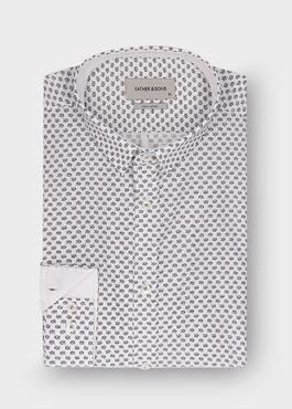 Chemise sport Slim en popeline de coton blanc à motif fantaisie noir 1 - Father And Sons