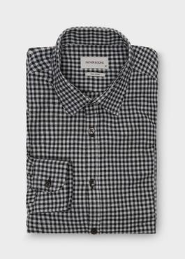 Chemise sport Slim en coton tissé jacquard à carreaux gris 1 - Father And Sons