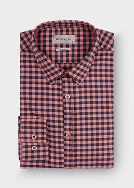 Chemise sport Slim en twill de coton rose à carreaux bleus 1 - Father And Sons