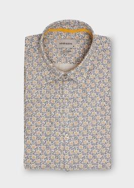 Chemise sport Slim en coton tissé chevron beige à motif fantaisie 1 - Father And Sons