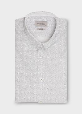 Chemise sport Slim en popeline de coton blanc à motif fantaisie bleu 1 - Father And Sons