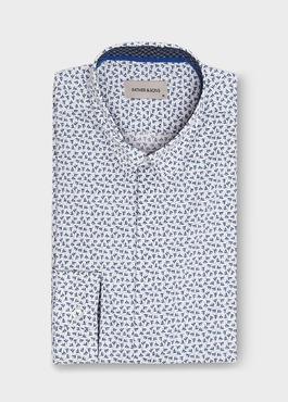 Chemise sport Slim en popline de coton blanc à motif fleuri bleu 1 - Father And Sons