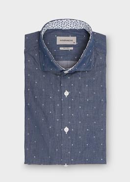 Chemise sport Slim en popeline de coton saphir à motif fantaisie blanc 1 - Father And Sons