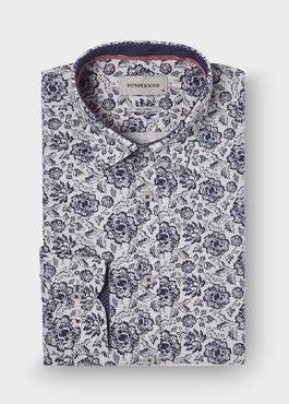 Chemise sport Slim en coton Jacquard beige à motif fleuri bleu marine 1 - Father And Sons