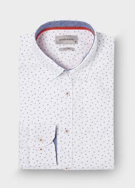 Chemise sport Slim en popeline de coton blanc à motifs géométriques bleu et rouge 1 - Father And Sons