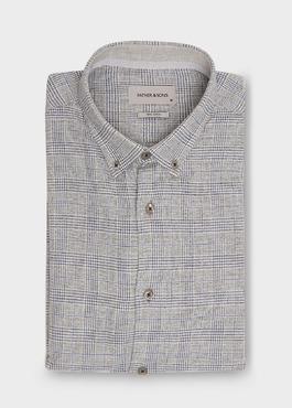 Chemise sport Slim en coton bleu indigo jacquard à motif prince de galles 1 - Father And Sons