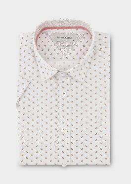Chemise manches courtes Slim en popeline de coton à motifs noir et marron 1 - Father And Sons