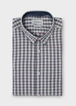 Chemise sport Regular en coton gris foncé à carreaux et pois rouges 1 - Father And Sons