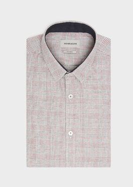 Chemise sport Slim en coton gris foncé à motif Prince-de-Galles rouge 1 - Father And Sons
